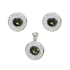 Sterling Silver Cubic Zirconia Mystic Round Cut Topaz Earring and Pendant Set