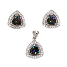 Sterling Silver Cubic Zirconia Mystic Triangle Cut Topaz Earring and Pendant Set