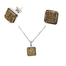 Sterling Silver Drucy Necklace and Earring Set