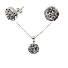 Sterling Silver Drucy Round Shaped Necklace and Earring Set