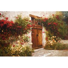 'Roses and Old Stone' by Ian Cook Painting Print on Canvas