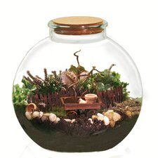 <strong>Oddity Inc.</strong> Round Terrarium Glass Vase with Cord Lid
