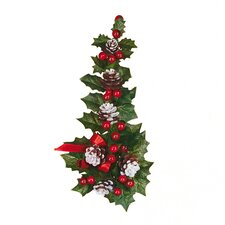Holly Berry Ribbon Snow Tipped Candle Climber