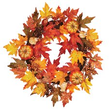 Maple Leaf Pumpkin Berry Wreath