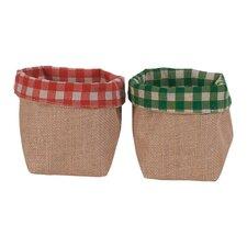 Checkered Burlap Storage Bags (Set of 2)