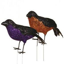 Glitter Crow Figurine (Set of 4)