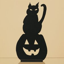 Wood Cat and Jack-O-Lantern Silhouette