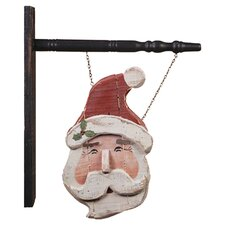 Hanging Wood Santa Sign