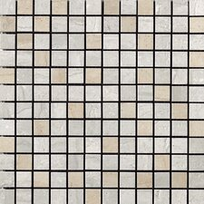 "<strong>Samson Tile</strong> Travertini 12"" x 12"" Polished Mosaic Floor and Wall Tile in Grigio/Cream"