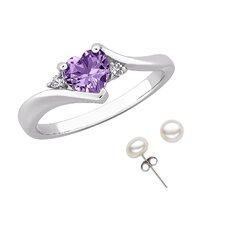 Heart Cut Amethyst Accent Ring and Earring Set