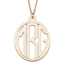 14K Gold over Sterling Silver Tailored Oval Monogram Pendant