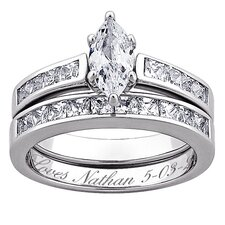 Sterling Silver Marquise Cut Cubic Zirconia Engraved Wedding Set