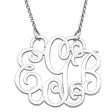 Sterling Silver Fancy Initial Monogram Pendant