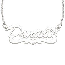 Sterling Silver Open Heart Script Necklace