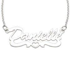 Sterling Silver Open Heart Script Necklace