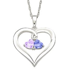 Sterling Silver Couples Heart Birthstone Necklace