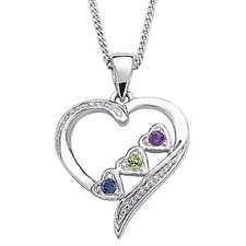 Sterling Silver Sister's Heart Birthstone Necklace  - 3 Stones