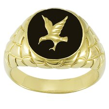 Men's Sterling Silver Onyx Eagle Ring