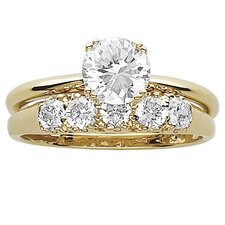 14K Gold Plated Round Cut Cubic Zirconia Bridal Set