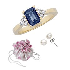 14K Gold Plated Emerald Cut Sapphire Ring and Earring Set