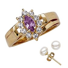 14K Gold Plated Marquise Cut Amethyst Ring and Earring Set