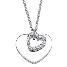 Sterling Silver Double Heart Cubic Zirconia Pendant