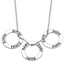 "Sterling Silver ""Peace, Love, Hope"" Pendant"