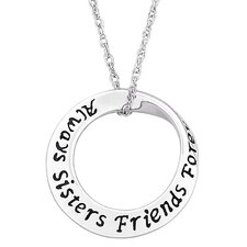 """Sterling Silver """"Always Sisters"""" Mobius Pendant"""