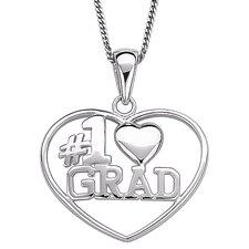"Sterling Silver ""#1 Grad"" Heart Pendant"