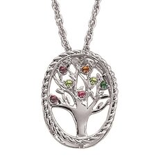 Family Tree Birthstone Necklace - 7 stone