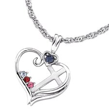 Sterling Silver Birthstone Heart Cross Necklace - 3 stone