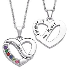 Family Name & Birthstone Heart Necklace - 6 Stones