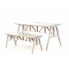 <strong>Context Furniture</strong> Truss 2 Piece A - Frame Table and Bench Set