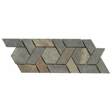 "12"" x 4.75"" Stone Mosaic Liner Tile in Multicolor"