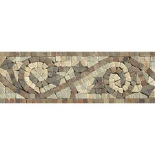 "12"" x 4"" Stone Mosaic Liner Tile in Amber Gold/Chinese Multicolor"