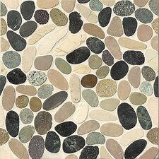 Hemisphere Random Sized Sliced Pebble Stone Glazed Mosaic Tile in Malaga Bay