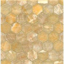 Onyx Hexagon Marble Polished Mosaic in Sweet Honey