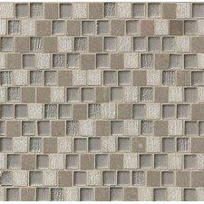 "Tessuto Offset Brick Blend 1"" x 3/4"" Stone/Glass Mosaic in Gray"