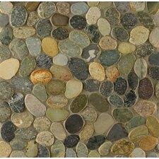 Hemisphere Sliced Pebble Random Sized Stone Mosaic in Riverbed