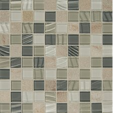 """1-1/6"""" x 1-1/6"""" Stone Mosaic Tile in Heather Grey"""