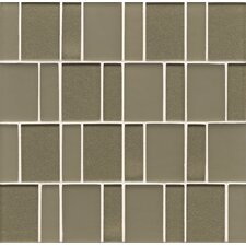 "12.38"" x 12"" Mosaic Brick Pattern Tile in Mint"