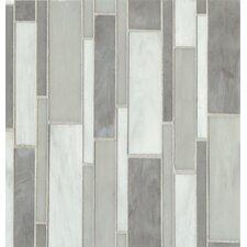 Random Sized Mosaic Linear Pattern Blend Tile in Silver Mist