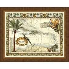 Tropical Map of the West Indies Framed Graphic Art