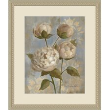 Peony on Soft Blue Framed Painting Print