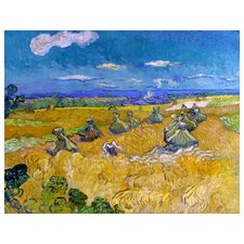 'Wheat Stacks with Reaper' by Vincent Van Gogh Painting Print on Canvas