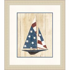 American Sail Boat Framed Graphic Art
