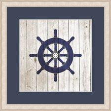 Nautical Wheel on Planks Framed Graphic Art