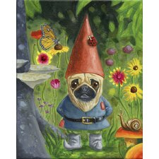 'Pug Gnome' by Brian Rubenacker Graphic Art on Canvas