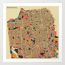 'Retro City Map San Francisco' by Jazzberry Blue Graphic Art on Canvas