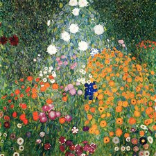 'Country Garden with Sunflowers' by Gustav Klimt Painting Print on Canvas